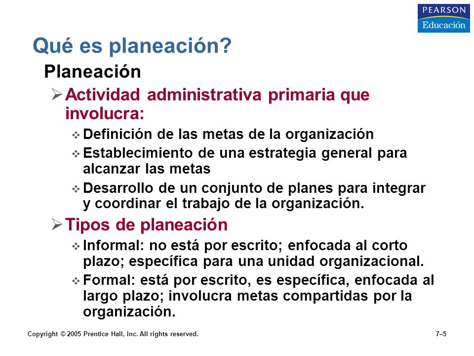 Copyright © 2005 Prentice Hall, Inc.All rights reserved.7–5 Qué es planeación.