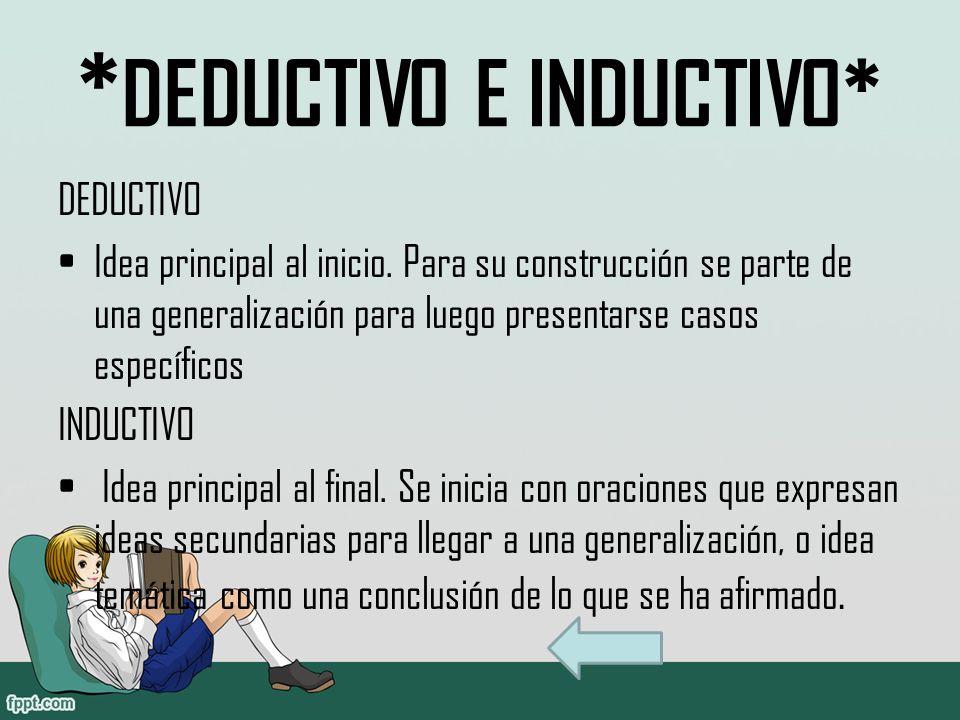 * DEDUCTIVO E INDUCTIVO* DEDUCTIVO Idea principal al inicio.