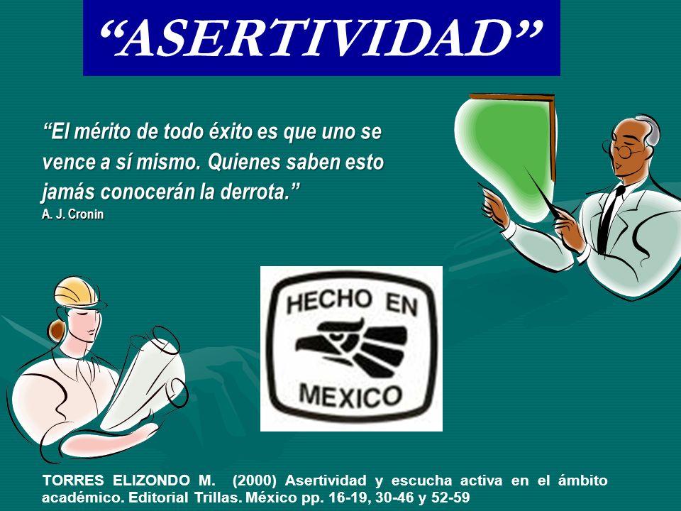 TORRES ELIZONDO M. (2000) Asertividad y escucha activa en el ámbito académico.