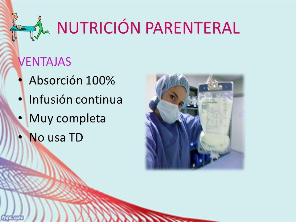 NUTRICIÓN PARENTERAL VENTAJAS Absorción 100% Infusión continua Muy completa No usa TD