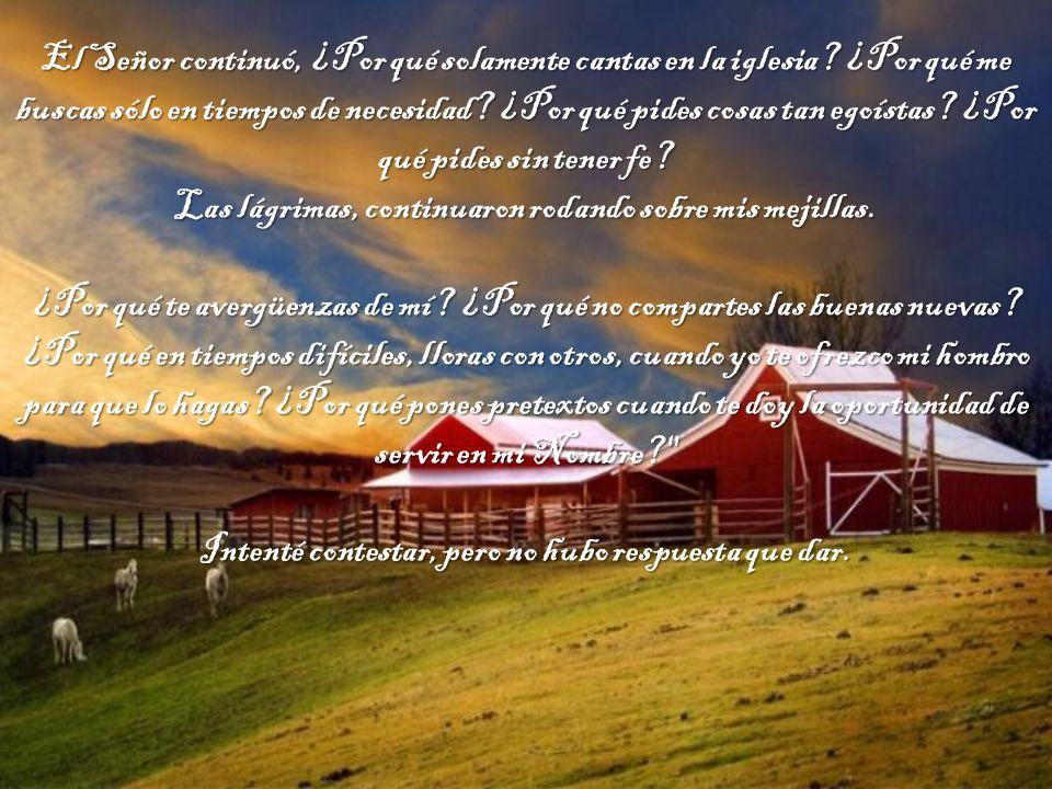 Y el Señor preguntó: ¿En realidad me Amas. Con valor y profunda convicción, le contesté: ¡Sí Señor.