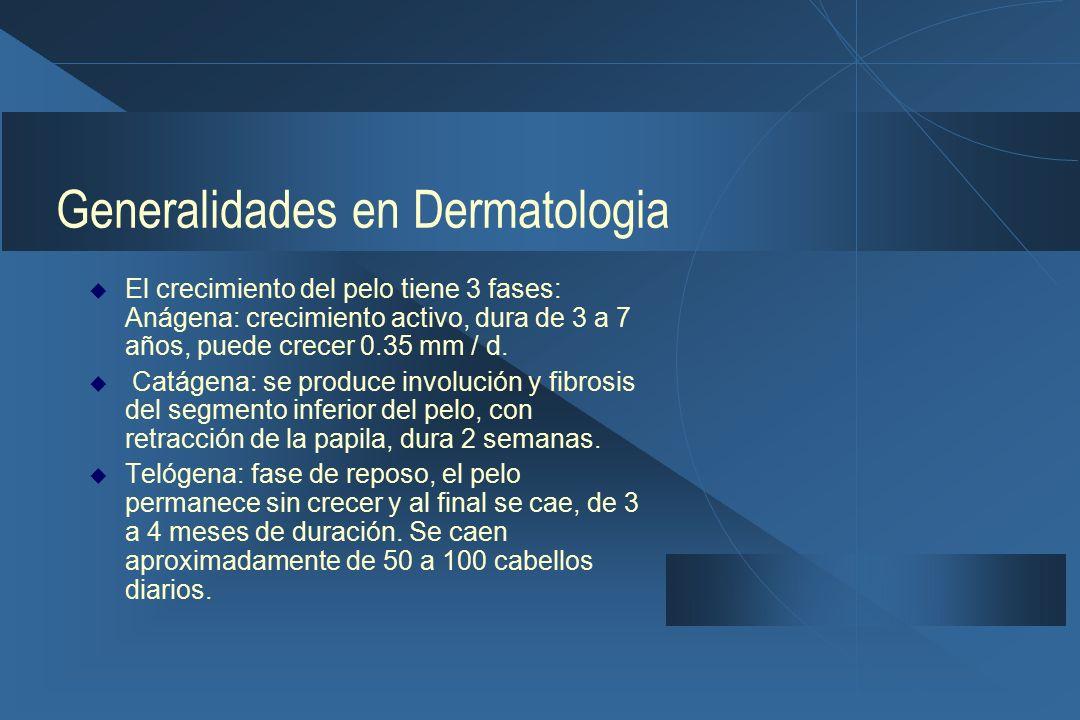 Generalidades en Dermatologia  El crecimiento del pelo tiene 3 fases: Anágena: crecimiento activo, dura de 3 a 7 años, puede crecer 0.35 mm / d.
