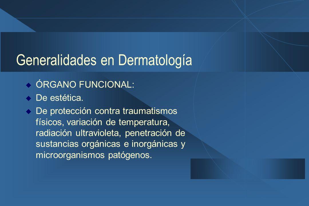 Generalidades en Dermatología  ÓRGANO FUNCIONAL:  De estética.