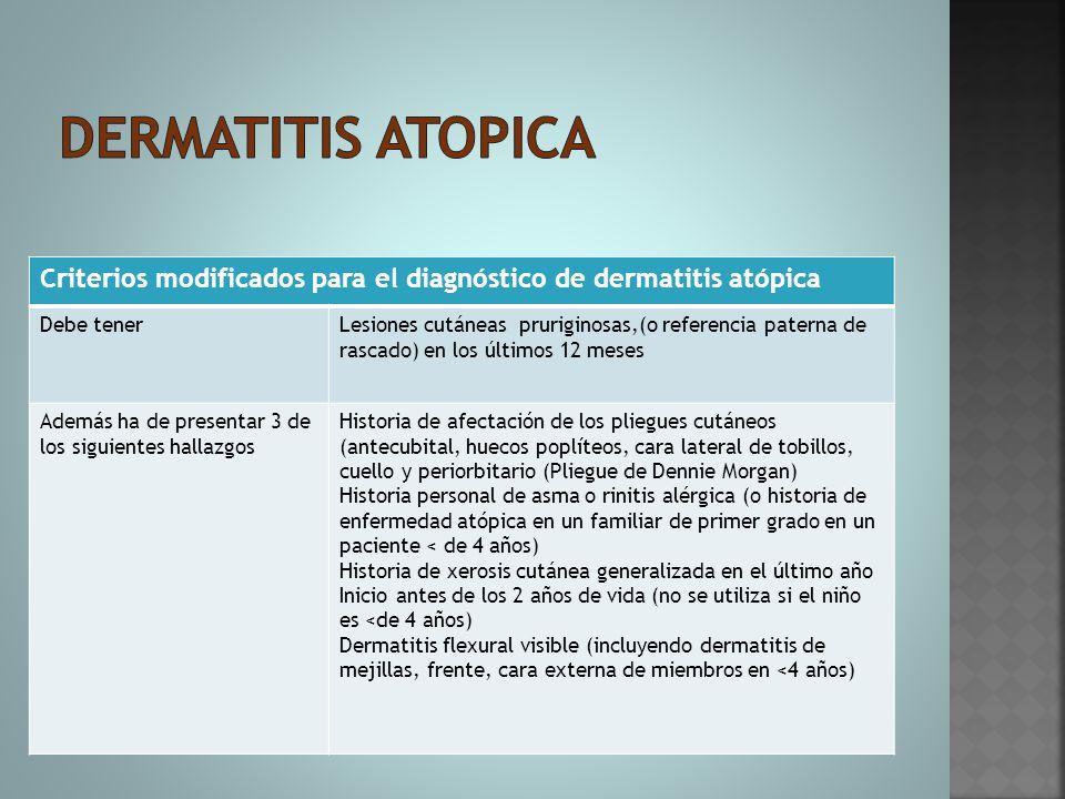 Criterios modificados para el diagnóstico de dermatitis atópica Debe tenerLesiones cutáneas pruriginosas,(o referencia paterna de rascado) en los últi