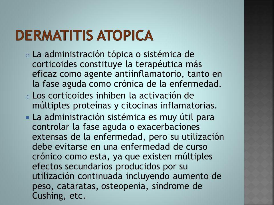 o La administración tópica o sistémica de corticoides constituye la terapéutica más eficaz como agente antiinflamatorio, tanto en la fase aguda como c