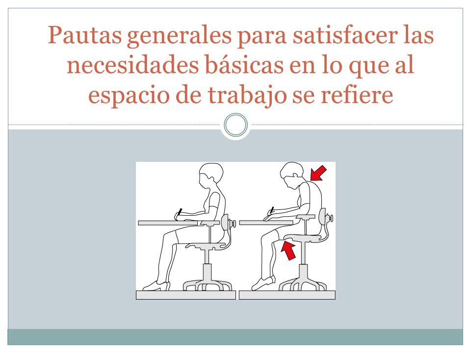 Pautas generales para satisfacer las necesidades básicas en lo que al espacio de trabajo se refiere
