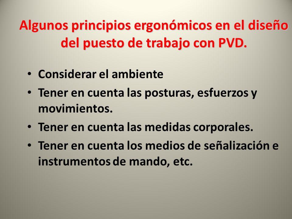 Algunos principios ergonómicos en el diseño del puesto de trabajo con PVD.