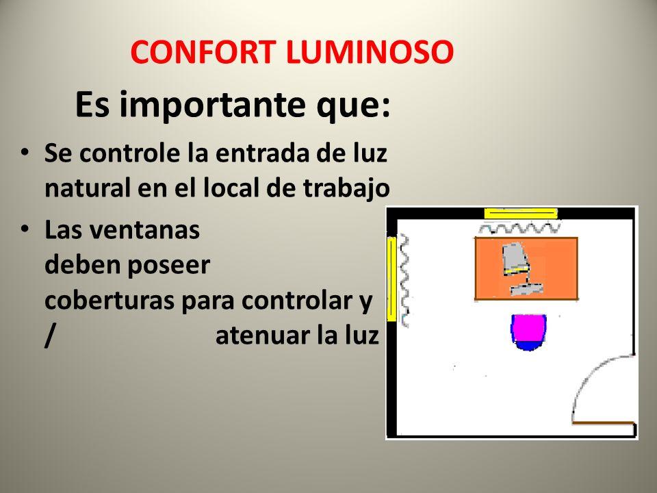 Es importante que: Se controle la entrada de luz natural en el local de trabajo Las ventanas deben poseer coberturas para controlar y / atenuar la luz CONFORT LUMINOSO