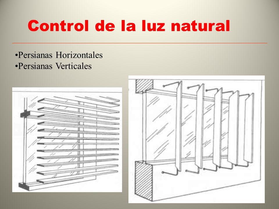 Control de la luz natural Persianas Horizontales Persianas Verticales