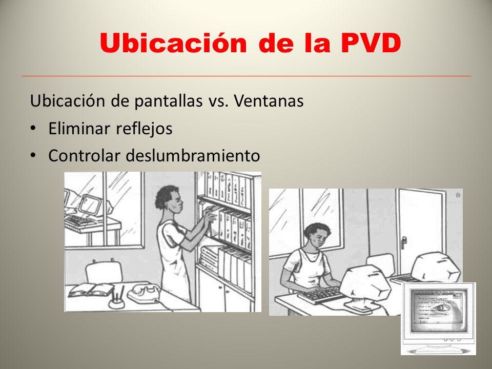 Ubicación de la PVD Ubicación de pantallas vs. Ventanas Eliminar reflejos Controlar deslumbramiento