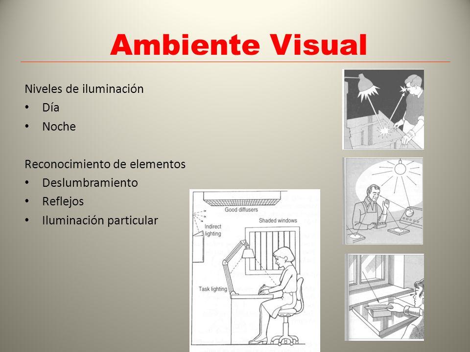 Ambiente Visual Niveles de iluminación Día Noche Reconocimiento de elementos Deslumbramiento Reflejos Iluminación particular