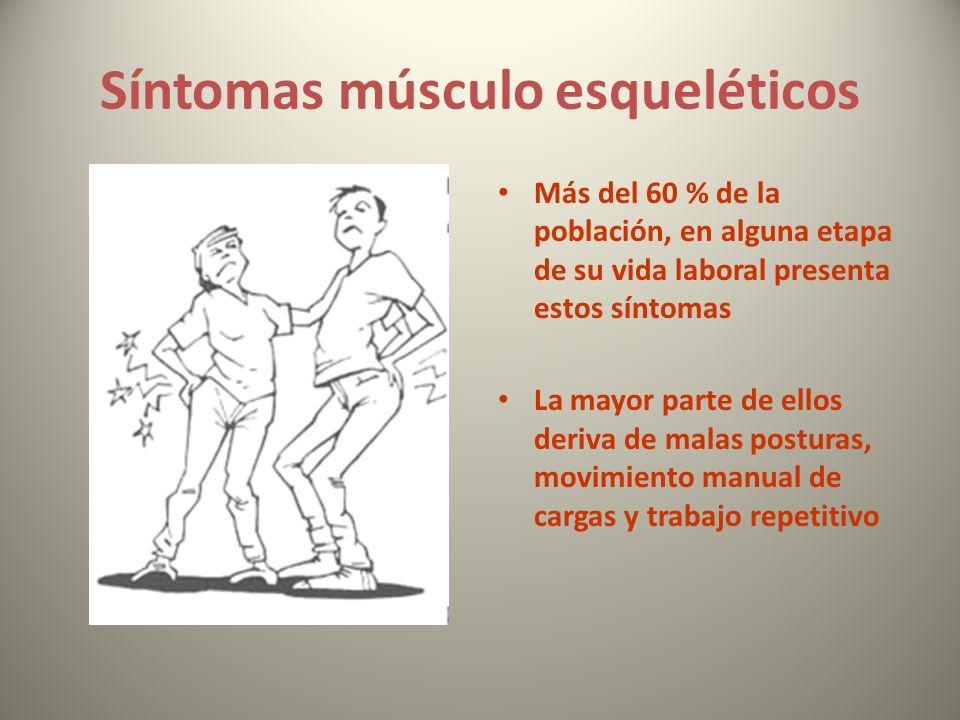 Síntomas músculo esqueléticos Más del 60 % de la población, en alguna etapa de su vida laboral presenta estos síntomas La mayor parte de ellos deriva de malas posturas, movimiento manual de cargas y trabajo repetitivo