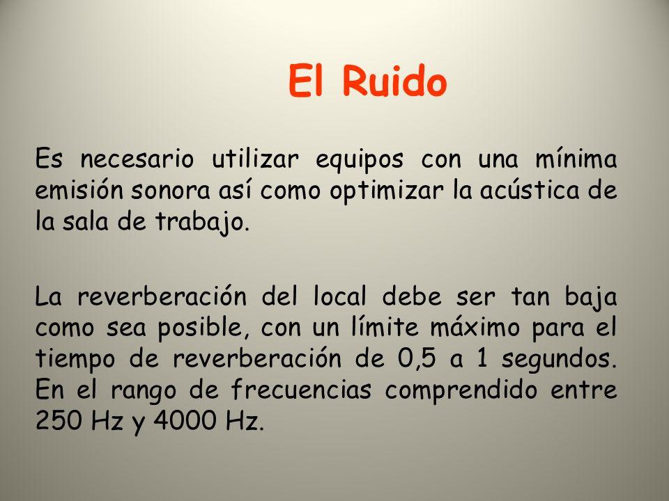 El Ruido Es necesario utilizar equipos con una mínima emisión sonora así como optimizar la acústica de la sala de trabajo.