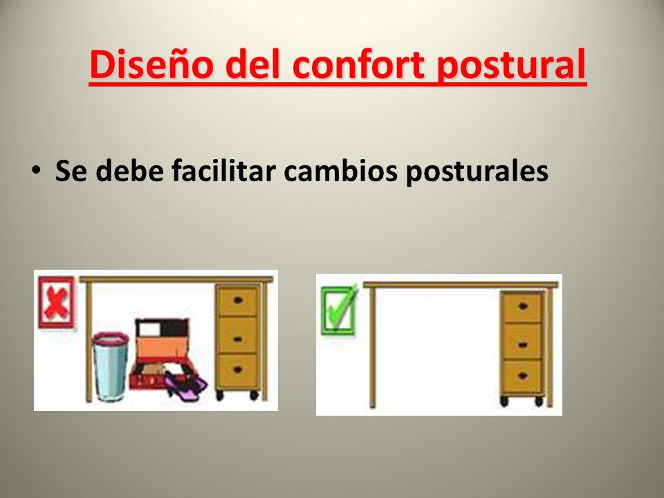 Se debe facilitar cambios posturales Diseño del confort postural Diseño del confort postural
