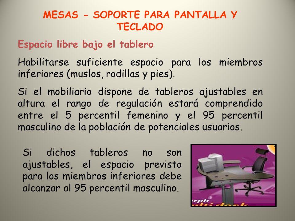 MESAS - SOPORTE PARA PANTALLA Y TECLADO Espacio libre bajo el tablero Habilitarse suficiente espacio para los miembros inferiores (muslos, rodillas y pies).