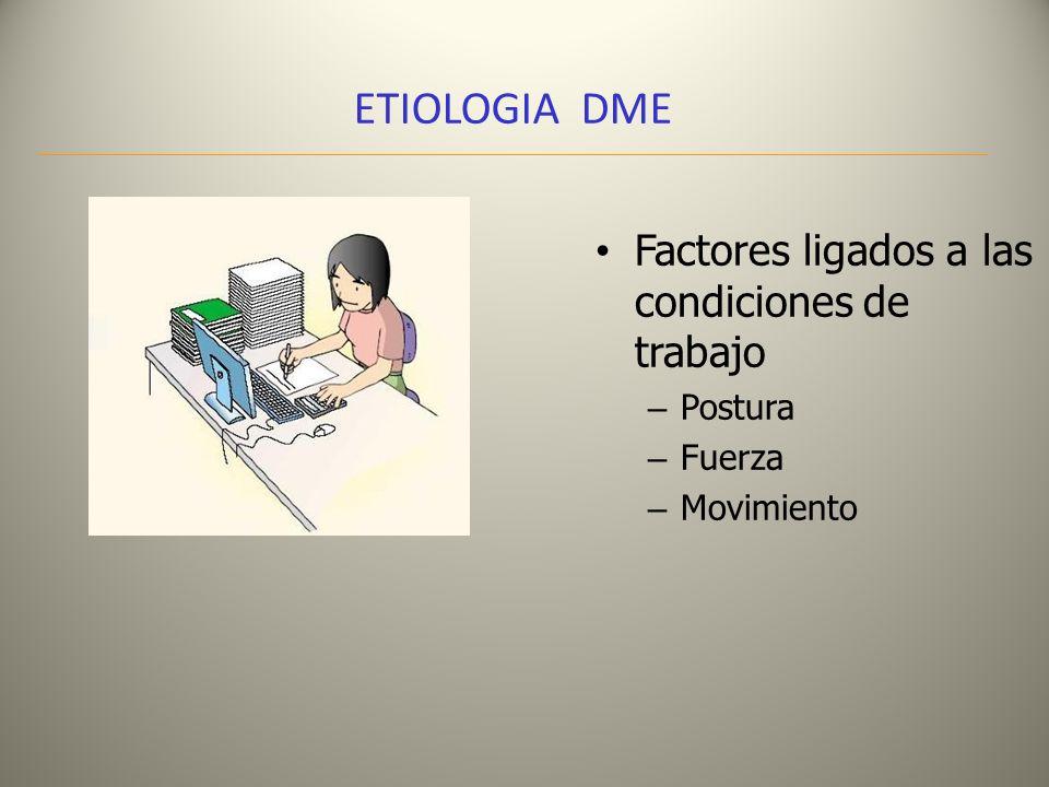 ETIOLOGIA DME Factores organizacionales – Organización del trabajo ( Jornadas, turnos, descansos, Horarios) – Tipo de proceso ( automatizado, en cadena, ritmos individuales) – Carga de trabajo – Características de las actividades y costo cognitivo (atención, memoria, monotonía)