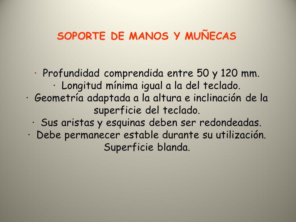 SOPORTE DE MANOS Y MUÑECAS · Profundidad comprendida entre 50 y 120 mm.