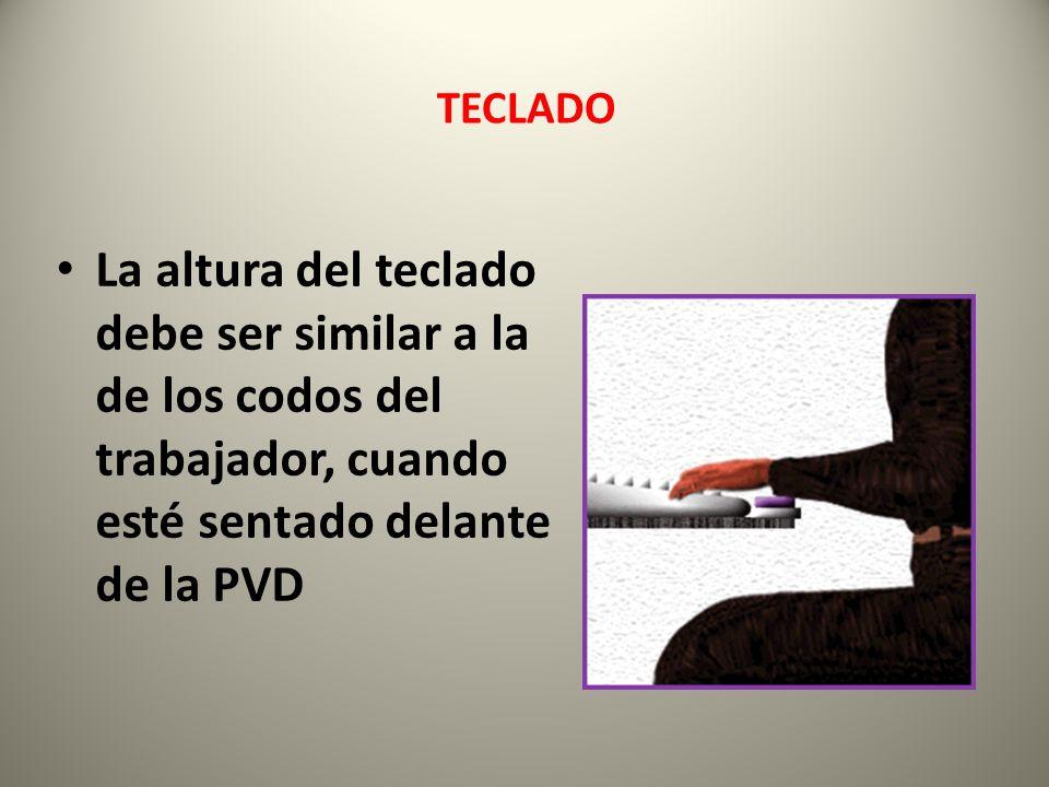 La altura del teclado debe ser similar a la de los codos del trabajador, cuando esté sentado delante de la PVD TECLADO