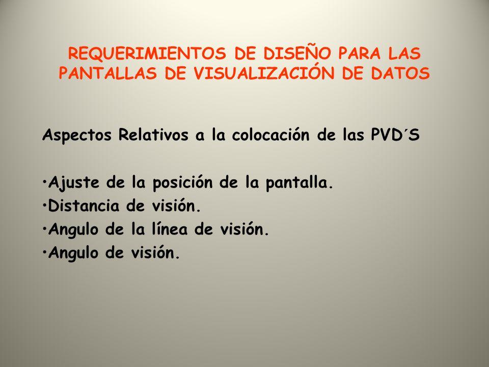 REQUERIMIENTOS DE DISEÑO PARA LAS PANTALLAS DE VISUALIZACIÓN DE DATOS Aspectos Relativos a la colocación de las PVD´S Ajuste de la posición de la pantalla.