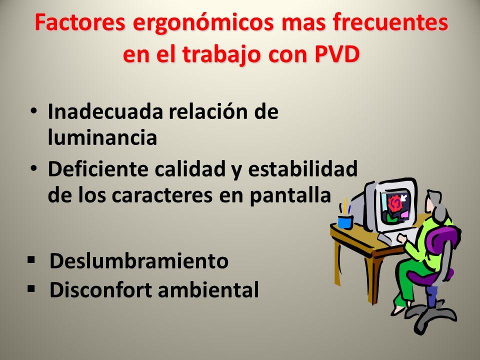 Factores ergonómicos mas frecuentes en el trabajo con PVD Inadecuada relación de luminancia Deficiente calidad y estabilidad de los caracteres en pantalla  Deslumbramiento  Disconfort ambiental