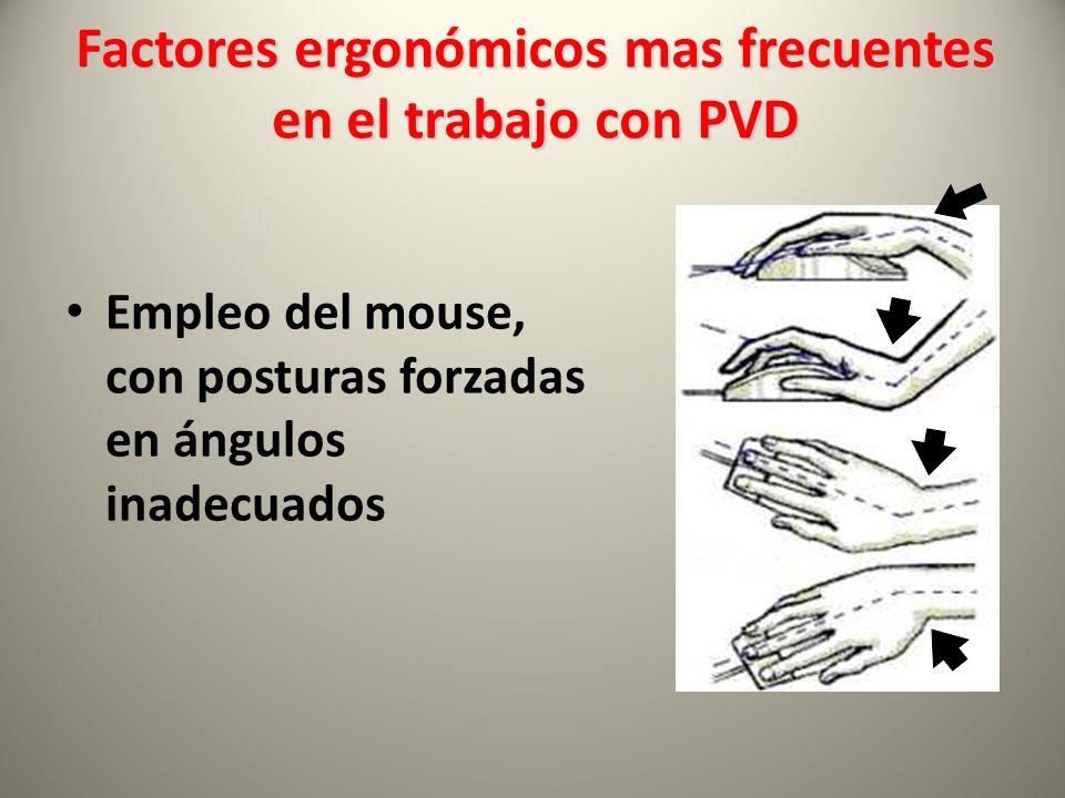 Empleo del mouse, con posturas forzadas en ángulos inadecuados Factores ergonómicos mas frecuentes en el trabajo con PVD