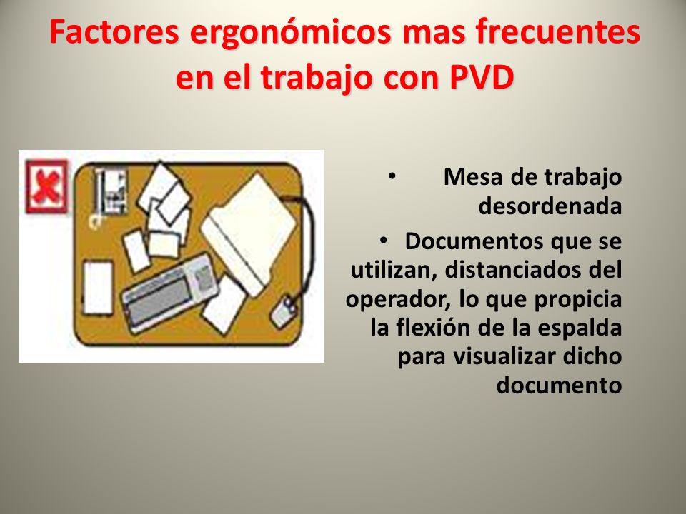 Mesa de trabajo desordenada Documentos que se utilizan, distanciados del operador, lo que propicia la flexión de la espalda para visualizar dicho documento Factores ergonómicos mas frecuentes en el trabajo con PVD