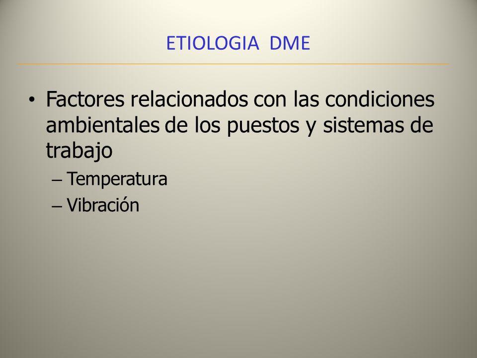 ETIOLOGIA DME Factores relacionados con las condiciones ambientales de los puestos y sistemas de trabajo – Temperatura – Vibración