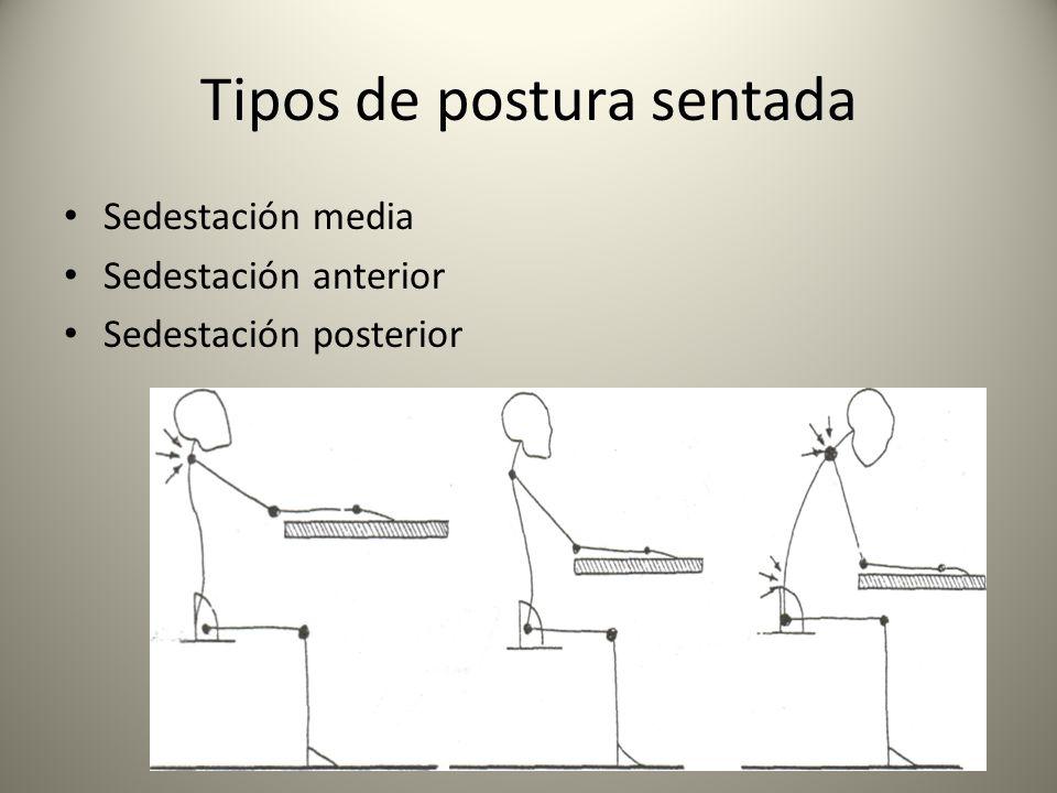 Tipos de postura sentada Sedestación media Sedestación anterior Sedestación posterior