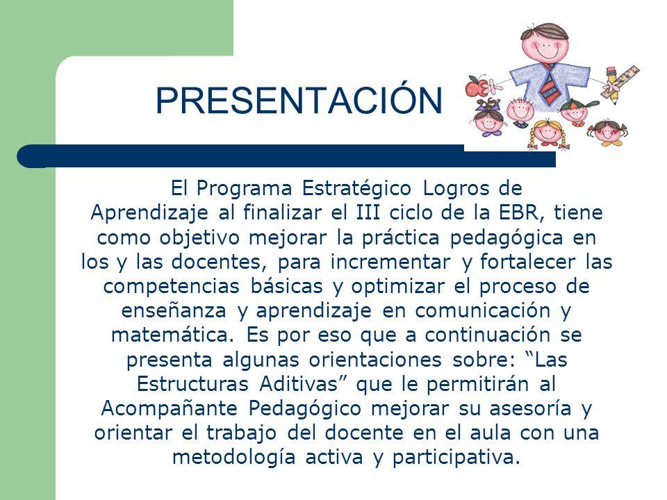 PRESENTACIÓN El Programa Estratégico Logros de Aprendizaje al finalizar el III ciclo de la EBR, tiene como objetivo mejorar la práctica pedagógica en los y las docentes, para incrementar y fortalecer las competencias básicas y optimizar el proceso de enseñanza y aprendizaje en comunicación y matemática.