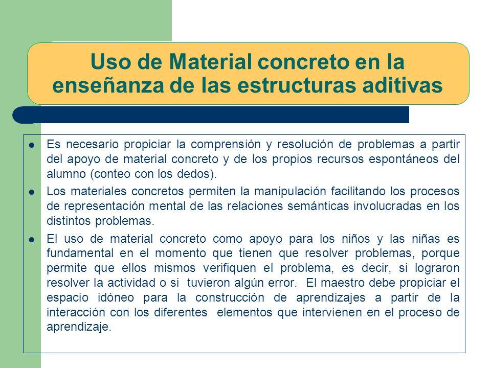 Uso de Material concreto en la enseñanza de las estructuras aditivas Es necesario propiciar la comprensión y resolución de problemas a partir del apoyo de material concreto y de los propios recursos espontáneos del alumno (conteo con los dedos).