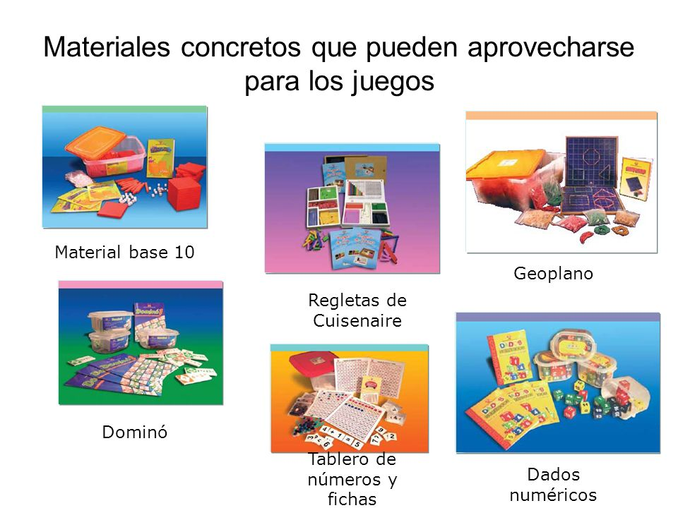 Materiales concretos que pueden aprovecharse para los juegos Material base 10 Regletas de Cuisenaire Geoplano Dominó Dados numéricos Tablero de números y fichas