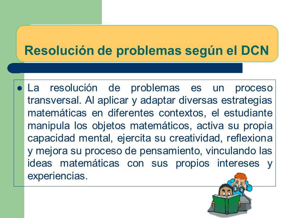 Resolución de problemas según el DCN La resolución de problemas es un proceso transversal.