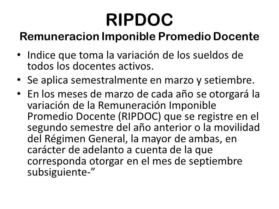 RIPDOC Remuneracion Imponible Promedio Docente Indice que toma la variación de los sueldos de todos los docentes activos.