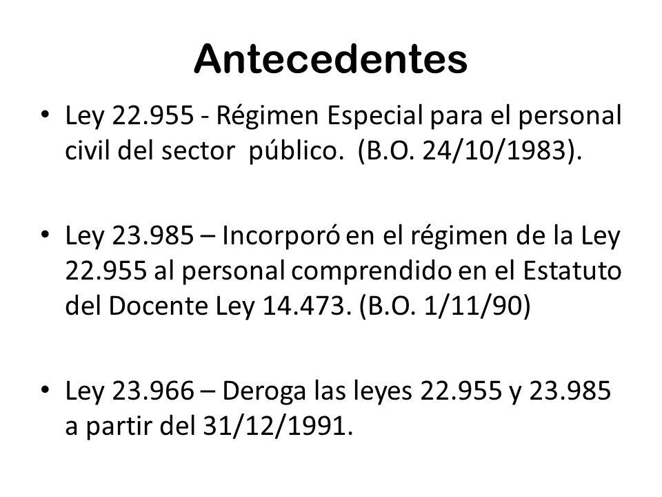 Antecedentes Ley 22.955 - Régimen Especial para el personal civil del sector público.
