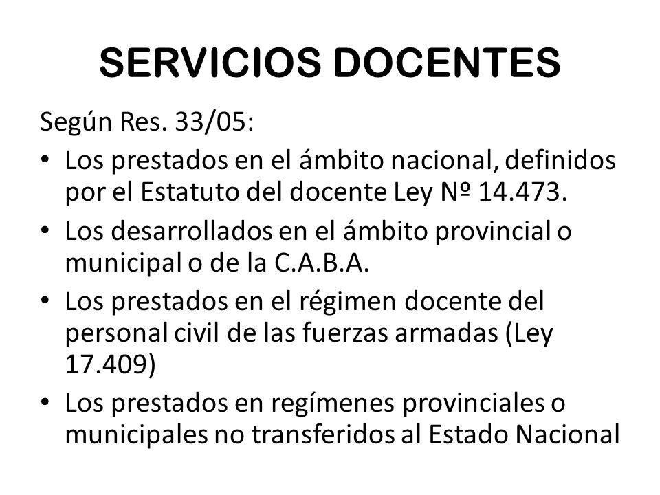 SERVICIOS DOCENTES Según Res.
