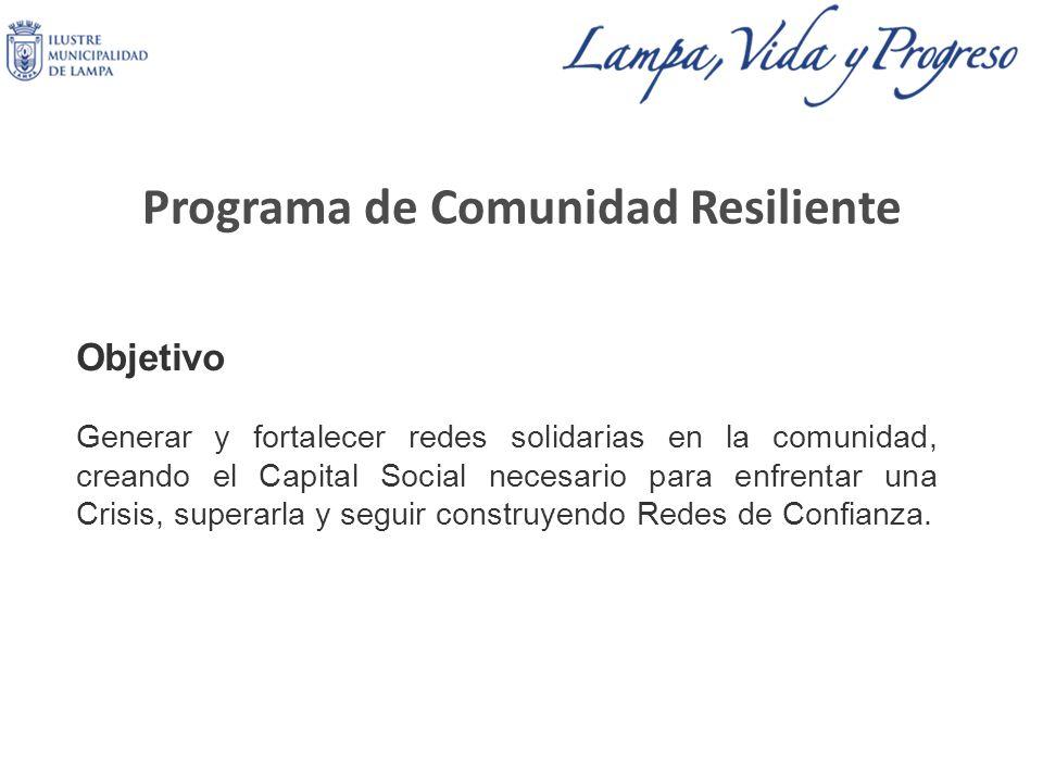 Programa de Comunidad Resiliente Objetivo Generar y fortalecer redes solidarias en la comunidad, creando el Capital Social necesario para enfrentar una Crisis, superarla y seguir construyendo Redes de Confianza.