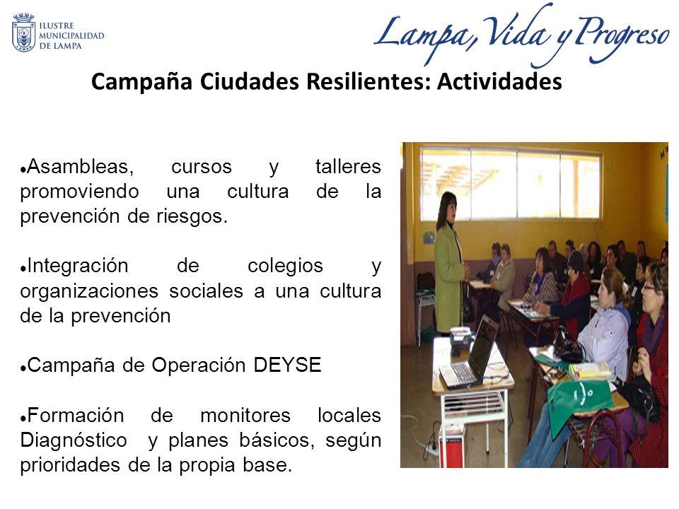 Campaña Ciudades Resilientes: Actividades Asambleas, cursos y talleres promoviendo una cultura de la prevención de riesgos.
