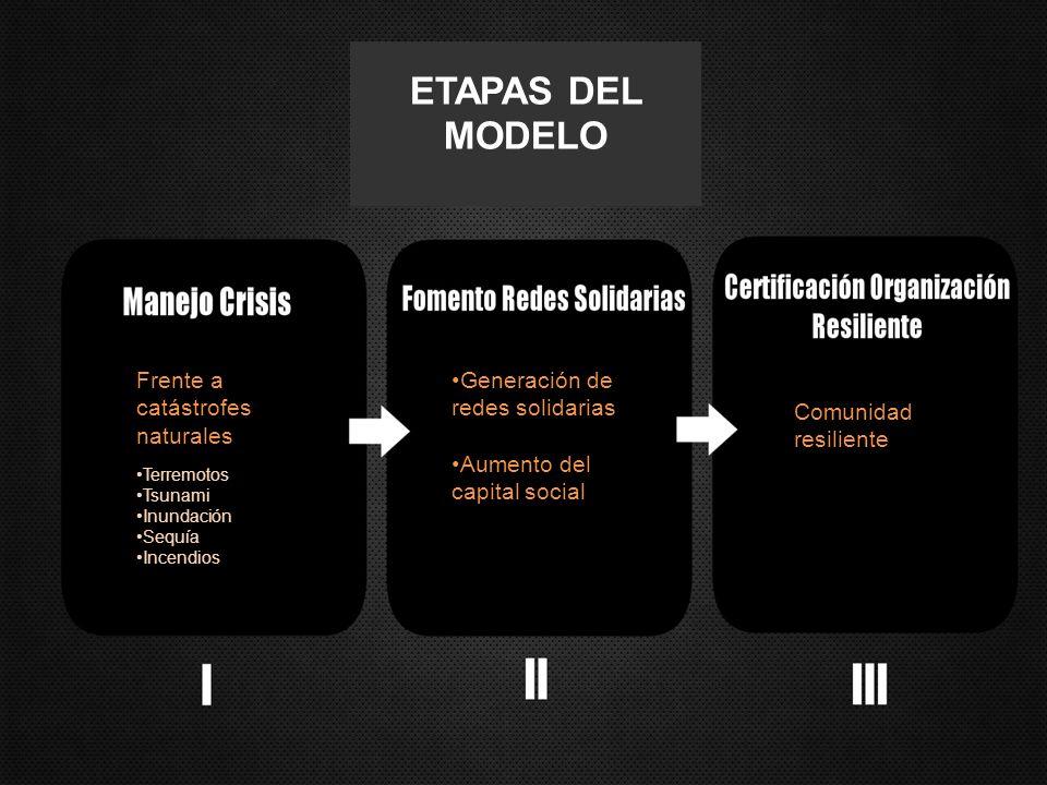 Frente a catástrofes naturales Terremotos Tsunami Inundación Sequía Incendios Generación de redes solidarias Aumento del capital social Comunidad resiliente ETAPAS DEL MODELO