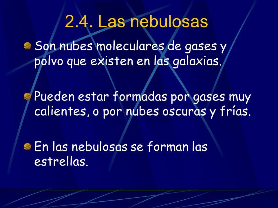 2.4. Las nebulosas Son nubes moleculares de gases y polvo que existen en las galaxias.