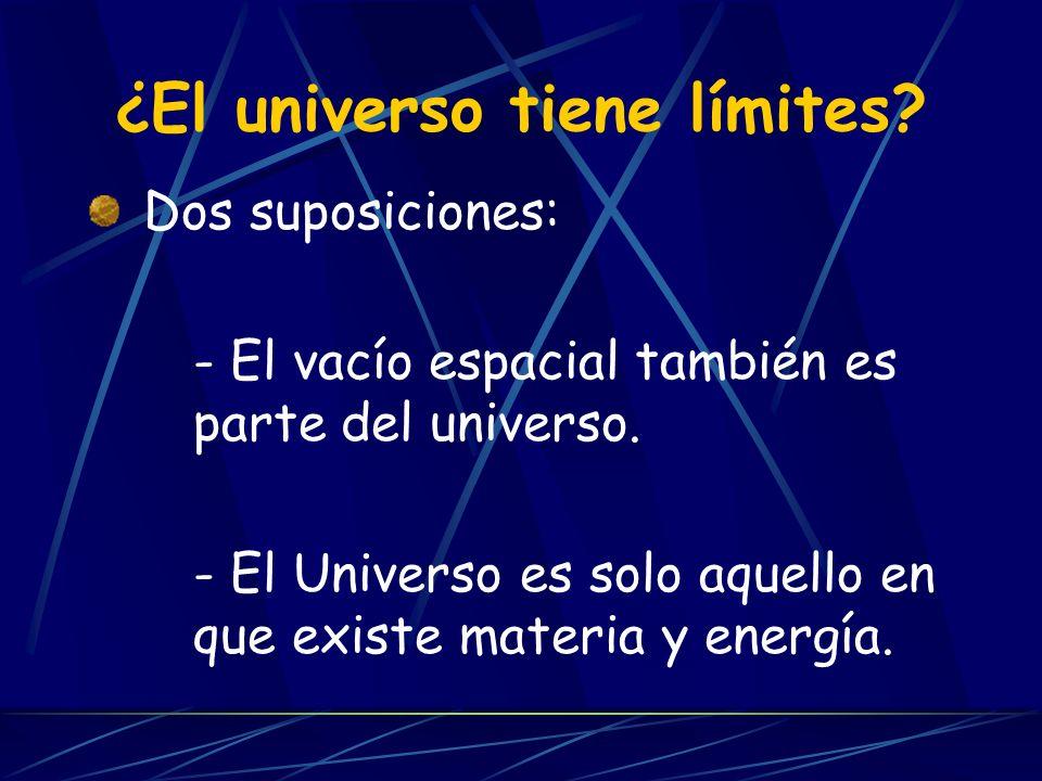 ¿El universo tiene límites. Dos suposiciones: - El vacío espacial también es parte del universo.