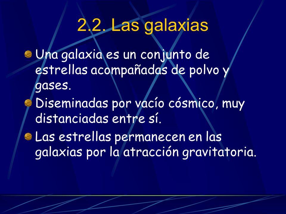 2.2. Las galaxias Una galaxia es un conjunto de estrellas acompañadas de polvo y gases.