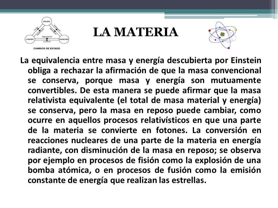 La equivalencia entre masa y energía descubierta por Einstein obliga a rechazar la afirmación de que la masa convencional se conserva, porque masa y energía son mutuamente convertibles.