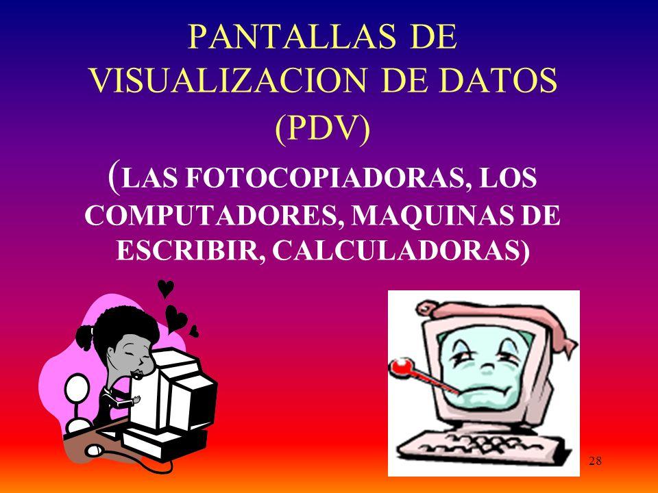 28 PANTALLAS DE VISUALIZACION DE DATOS (PDV) ( LAS FOTOCOPIADORAS, LOS COMPUTADORES, MAQUINAS DE ESCRIBIR, CALCULADORAS)