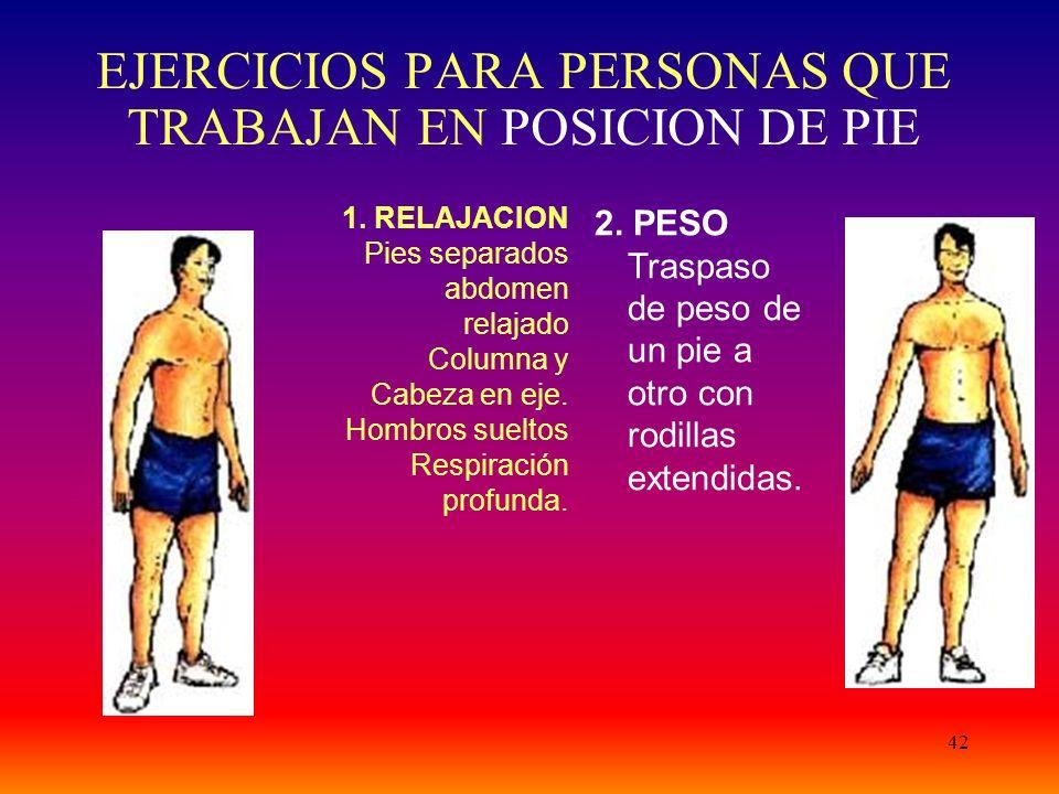 42 EJERCICIOS PARA PERSONAS QUE TRABAJAN EN POSICION DE PIE 1.