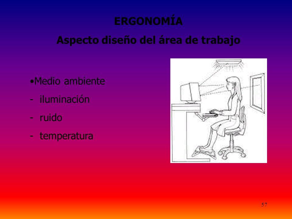 57 ERGONOMÍA Aspecto diseño del área de trabajo Medio ambiente - iluminación - ruido - temperatura
