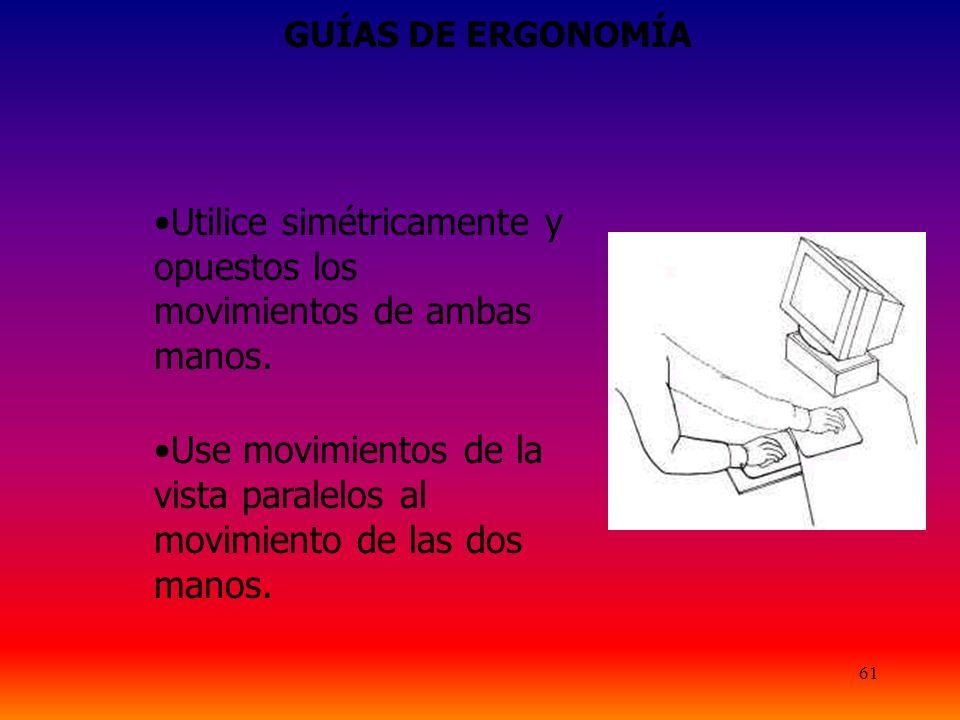 61 GUÍAS DE ERGONOMÍA Utilice simétricamente y opuestos los movimientos de ambas manos.