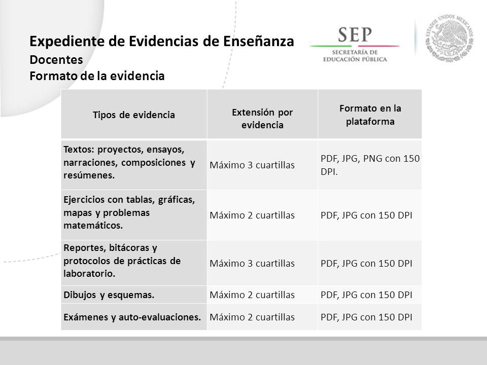 Tipos de evidencia Extensión por evidencia Formato en la plataforma Textos: proyectos, ensayos, narraciones, composiciones y resúmenes.