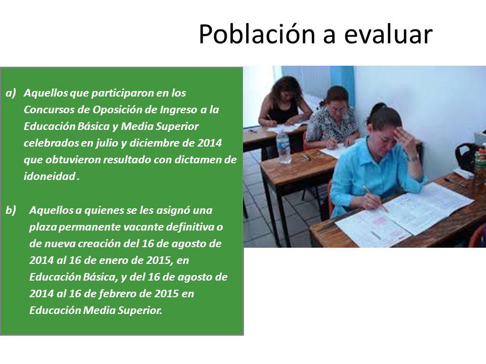 Población a evaluar a)Aquellos que participaron en los Concursos de Oposición de Ingreso a la Educación Básica y Media Superior celebrados en julio y diciembre de 2014 que obtuvieron resultado con dictamen de idoneidad.