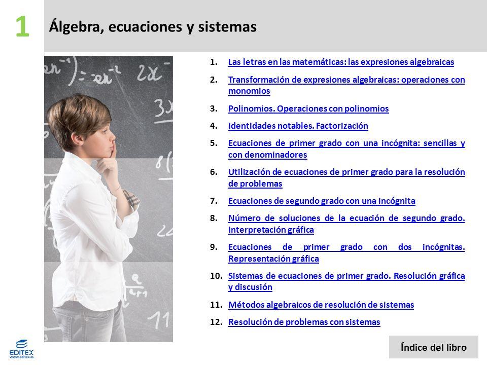 Álgebra, ecuaciones y sistemas 8.Número de soluciones de la ecuación de segundo grado.