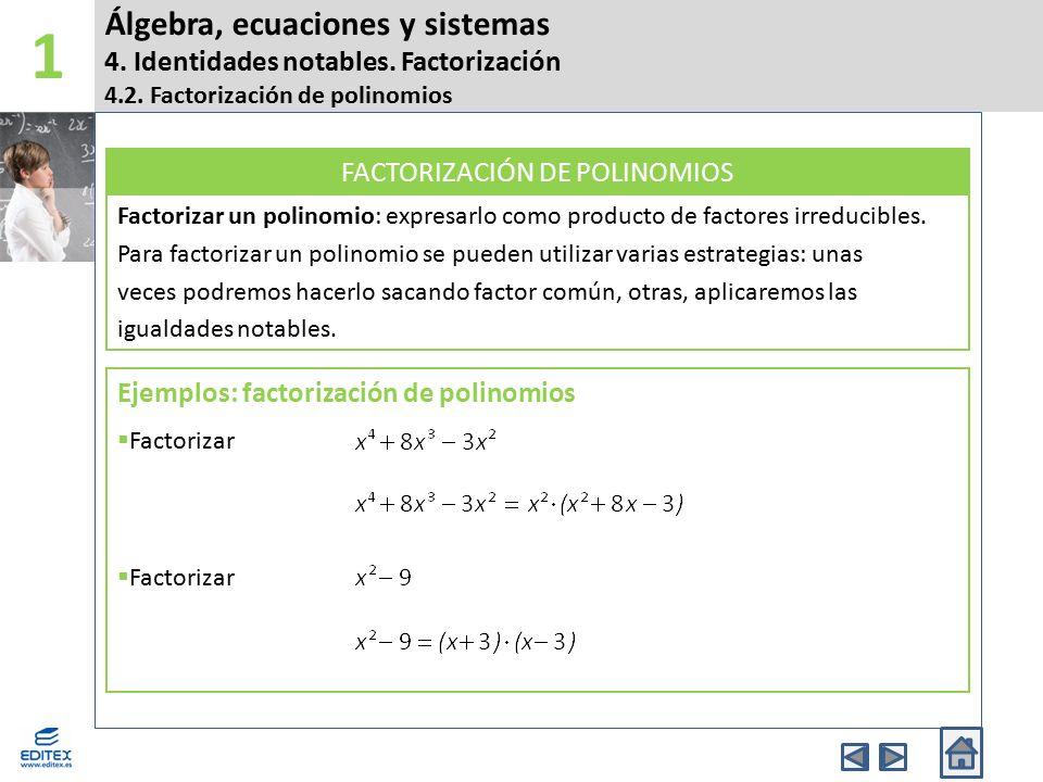 Álgebra, ecuaciones y sistemas 4. Identidades notables. Factorización 4.2. Factorización de polinomios 1 Factorizar un polinomio: expresarlo como prod